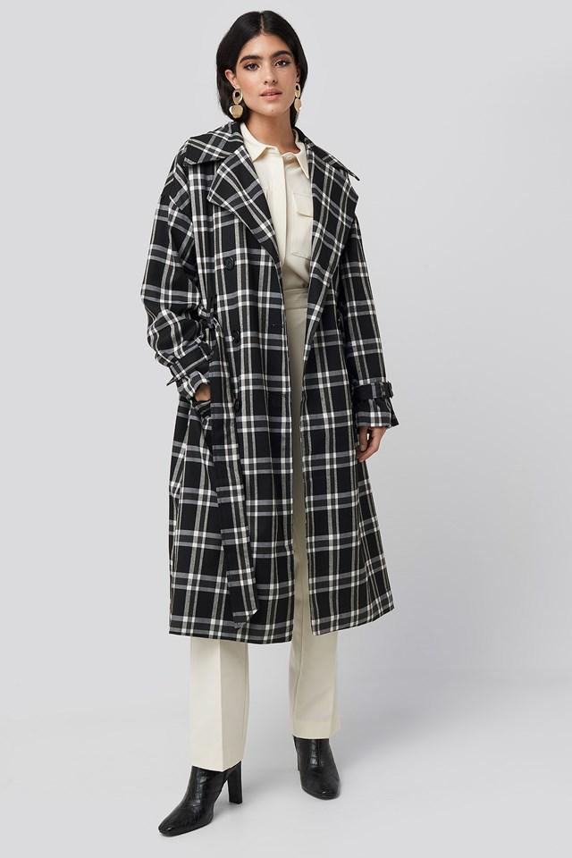Plaid Oversized Belted Coat NA-KD Classic