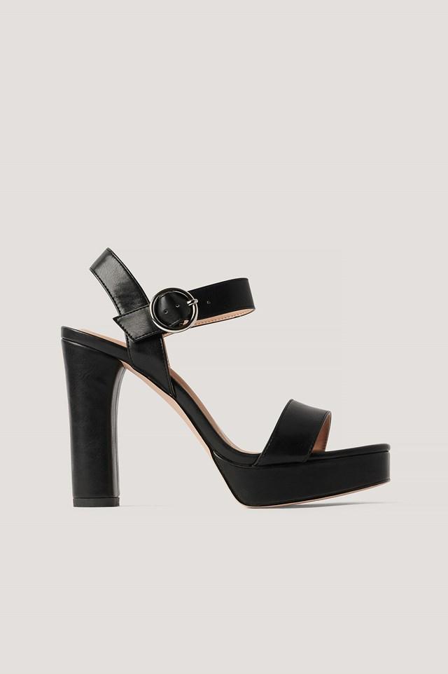 Platform High Heel Sandals Black