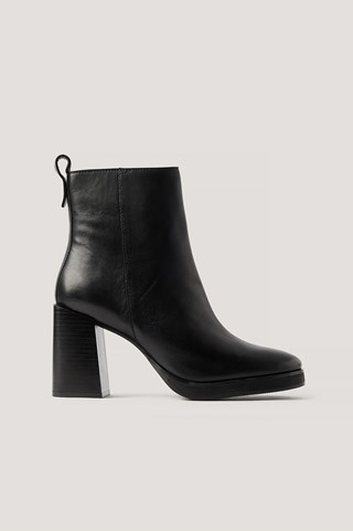 Black Platform Leather Boots