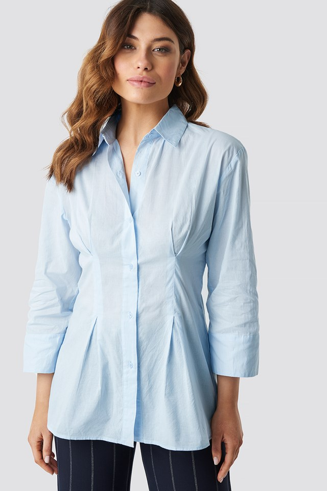 Pleat Detail Oversized Shirt NA-KD Classic