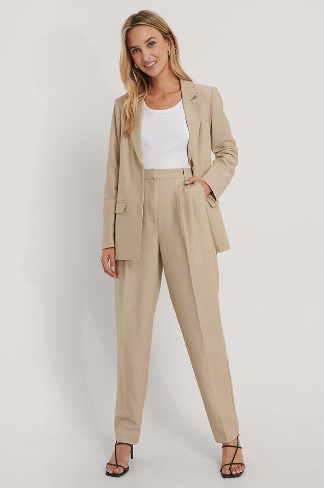 Pleat Detail Suit Pants Beige
