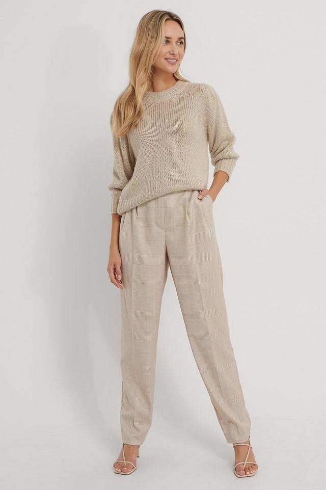 Pleat Detail Suit Pants Check Print