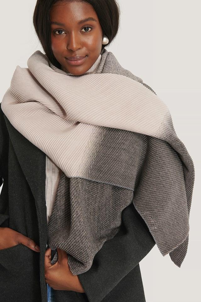 Pleated Blanked Scarf Grey Melange