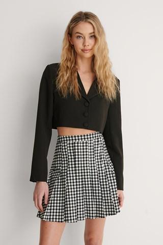 Check Pleated Check Mini Skirt