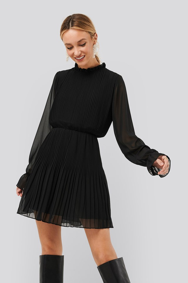 Pleated Elastic Waist Dress Black