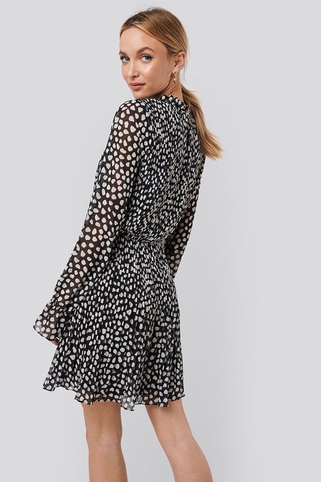 Pleated Elastic Waist Dress Dots