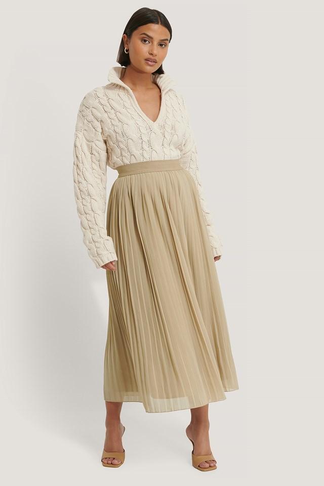 Pleated Skirt Beige