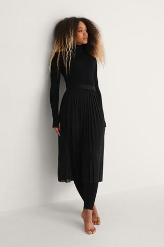 Black Pleated Mesh Midi Skirt