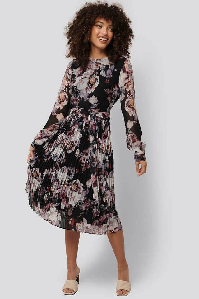 Pleated Midi Dress Print