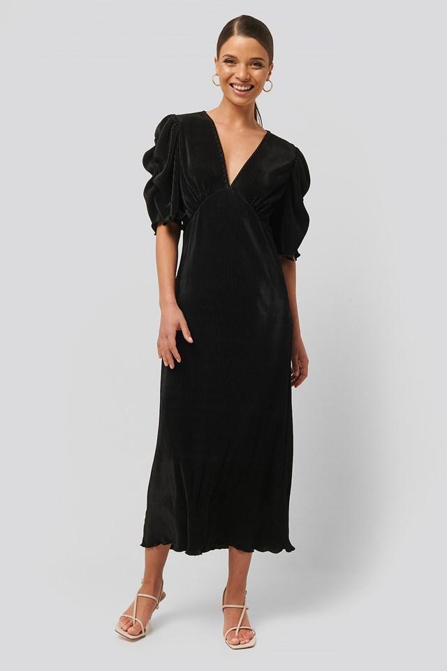 Pleated Midi Dress Black