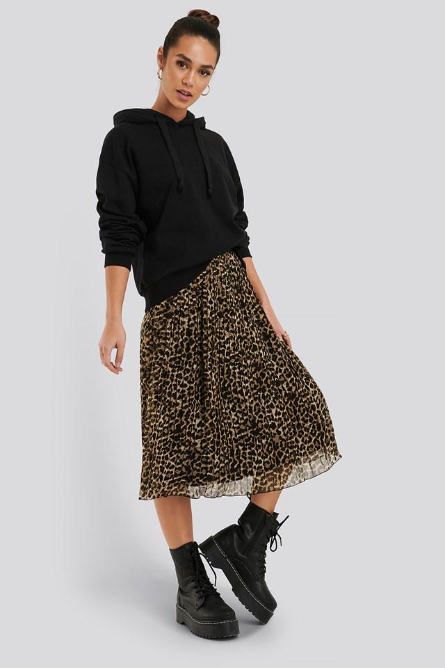 Pleated Midi Skirt Leoprint