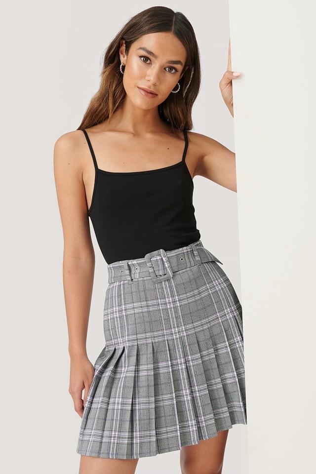 Pleated Mini Skirt Check
