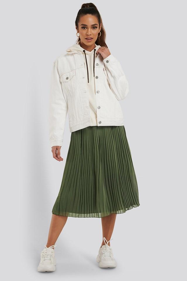 Pleated Midi Skirt Khaki Green
