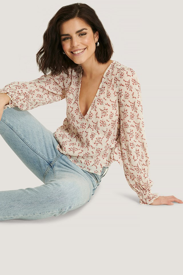 Pleated Overlap Tie Blouse Red Flower