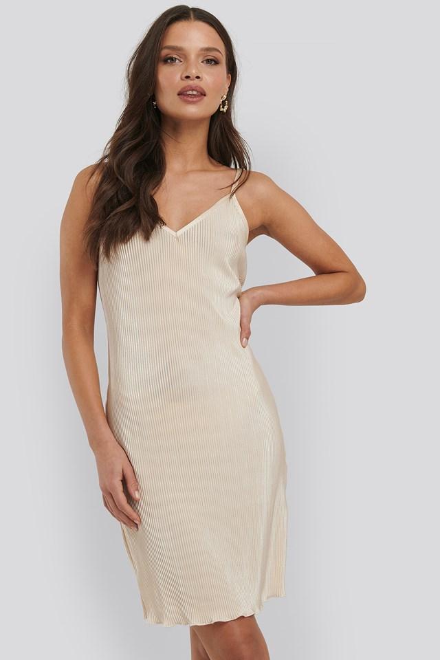Pleated Slip Dress Yellow