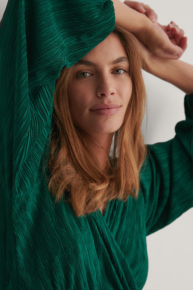 Pleated Wrap Top Green