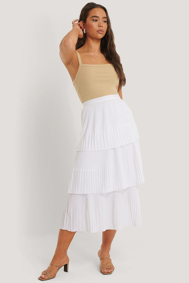Plisse Ankle Skirt Offwhite