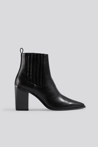 Black Pointy Block Heel Boots