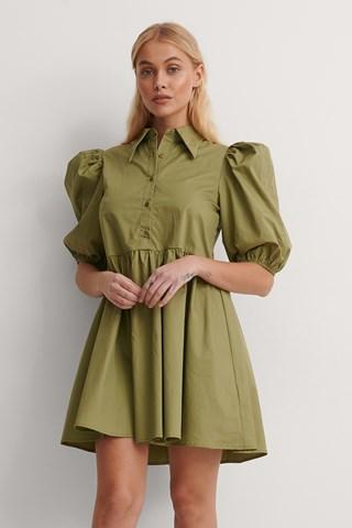 Khaki Pointy Collar Puff Sleeve Dress