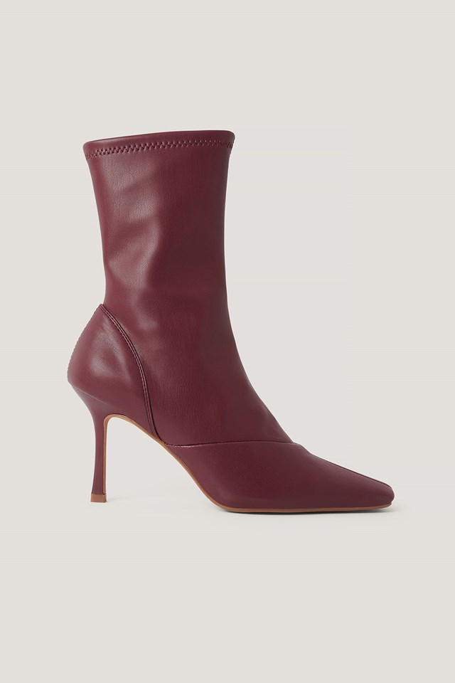 Wine Red Pointy Hourglass Boots