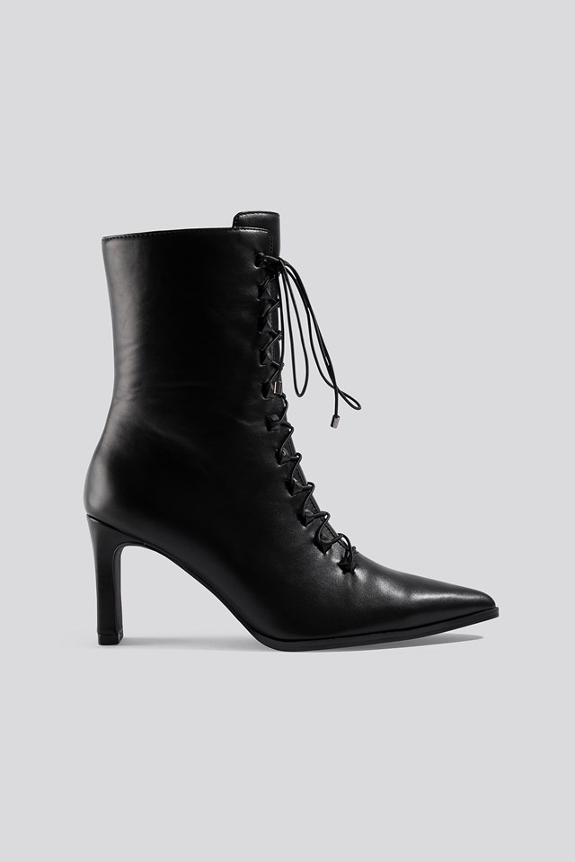Pointy Lace Up Booties Black