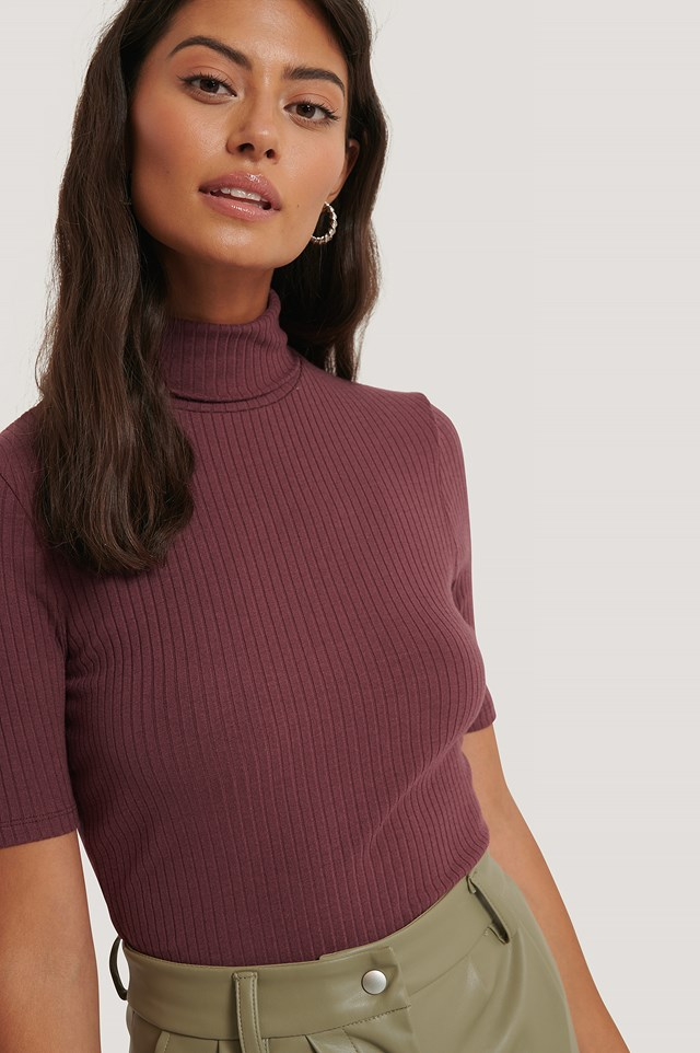 Polo Neck Ribbed Top Wine