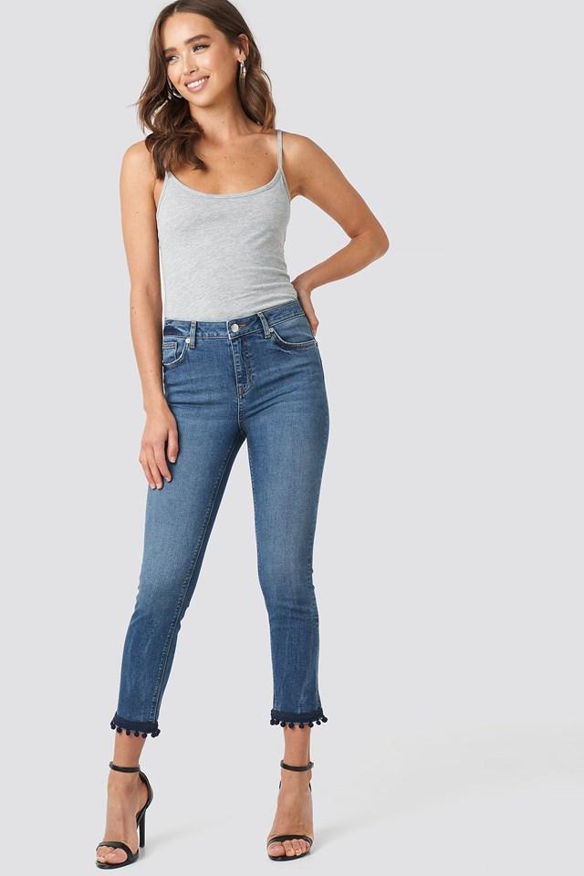 Pom Pom Trim Skinny Jeans Light Blue Wash