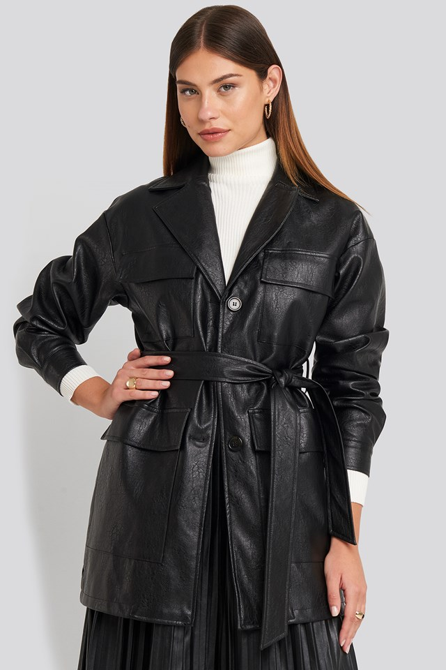 Power Shoulder Pu Jacket NA-KD Trend