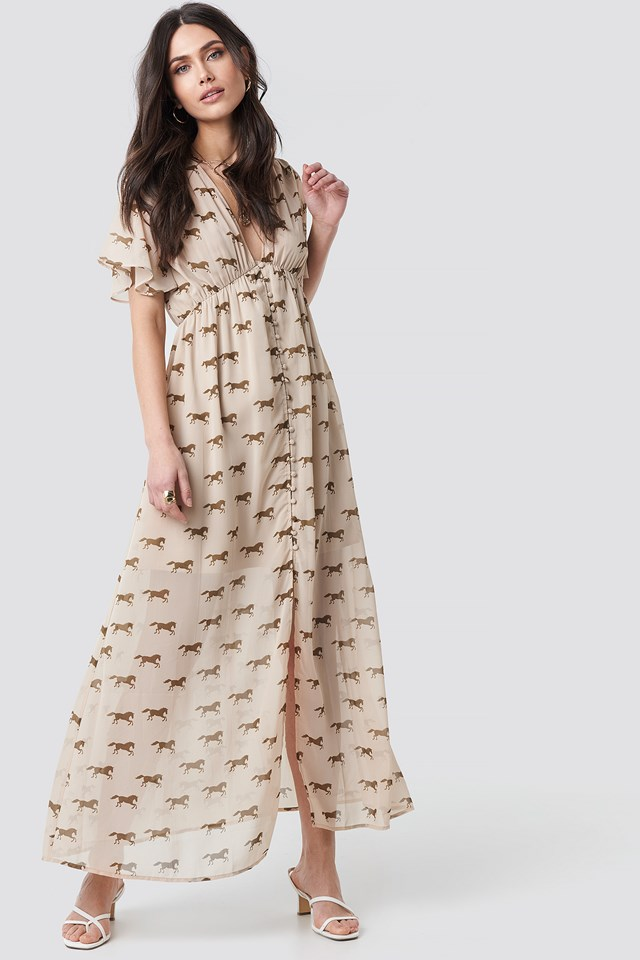 Front Button Maxi Dress NA-KD Trend