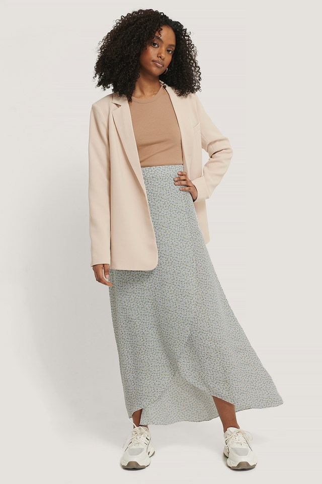 Printed Maxi Overlap Skirt Light Blue