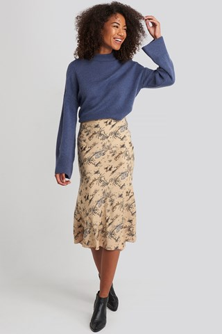 Safari Print Satin Skirt