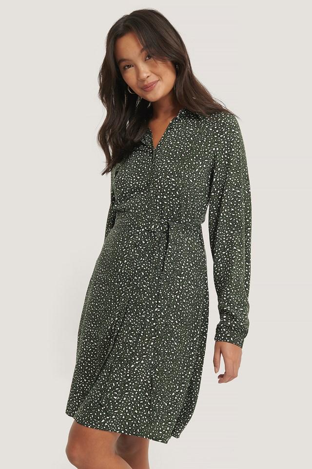 Printed Shirt Dress Green Printed