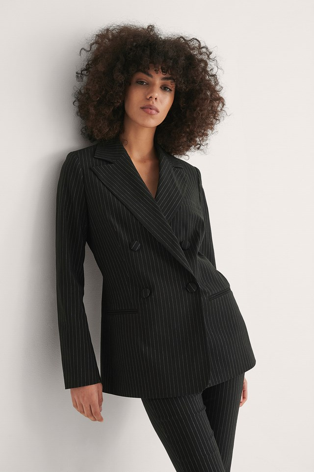 Pinstripe Pinstriped Double Breasted Blazer