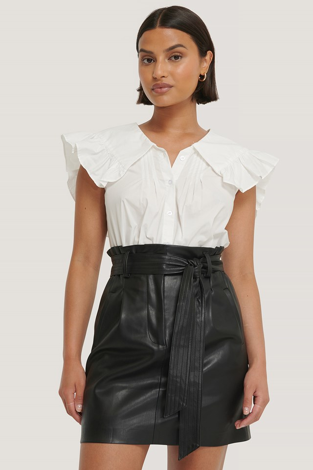 PU Belted Skirt Black