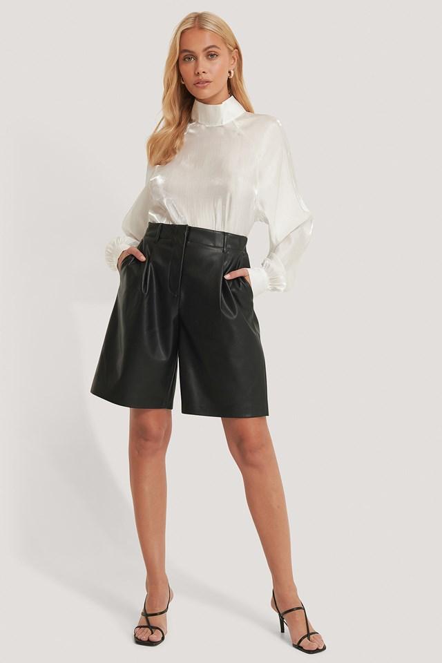 Black PU Bermuda Shorts