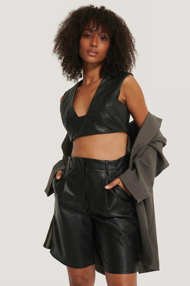 PU Bermuda Shorts Black