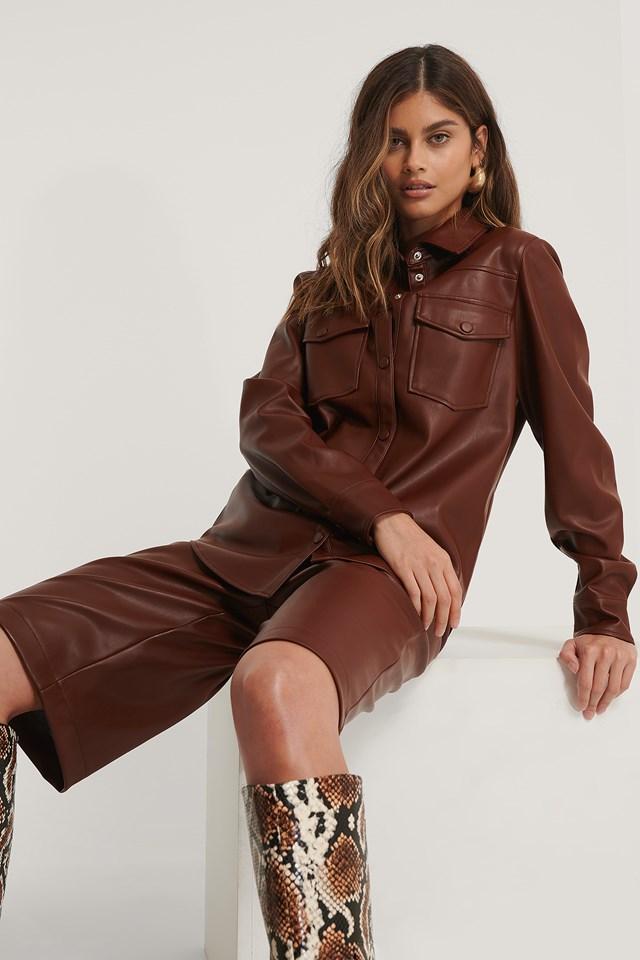 PU Double Pocket Shirt Burgundy