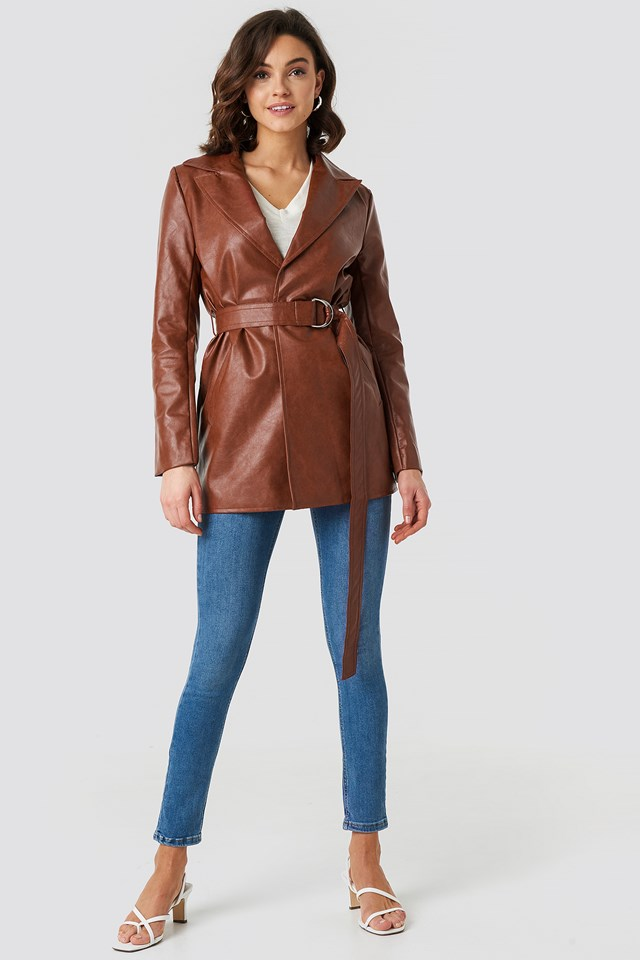 PU Leather Belted Jacket NA-KD Trend