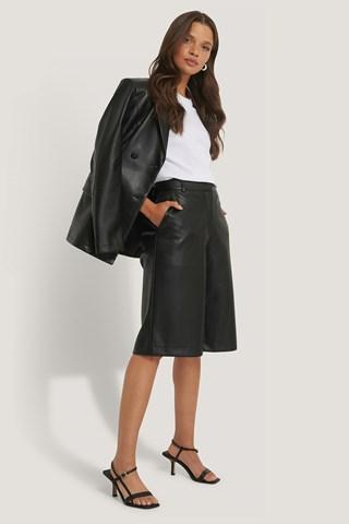 Black PU Long Bermuda Shorts