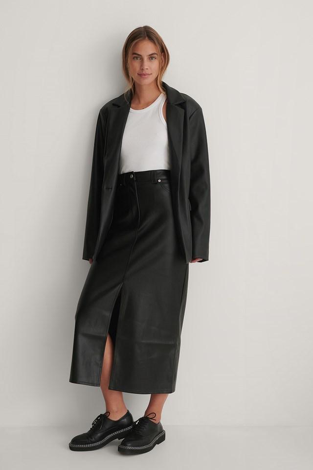 PU Long Slit Skirt Black