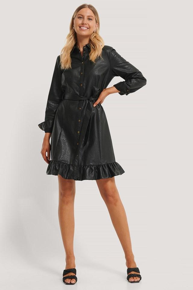 PU Midi Dress Black