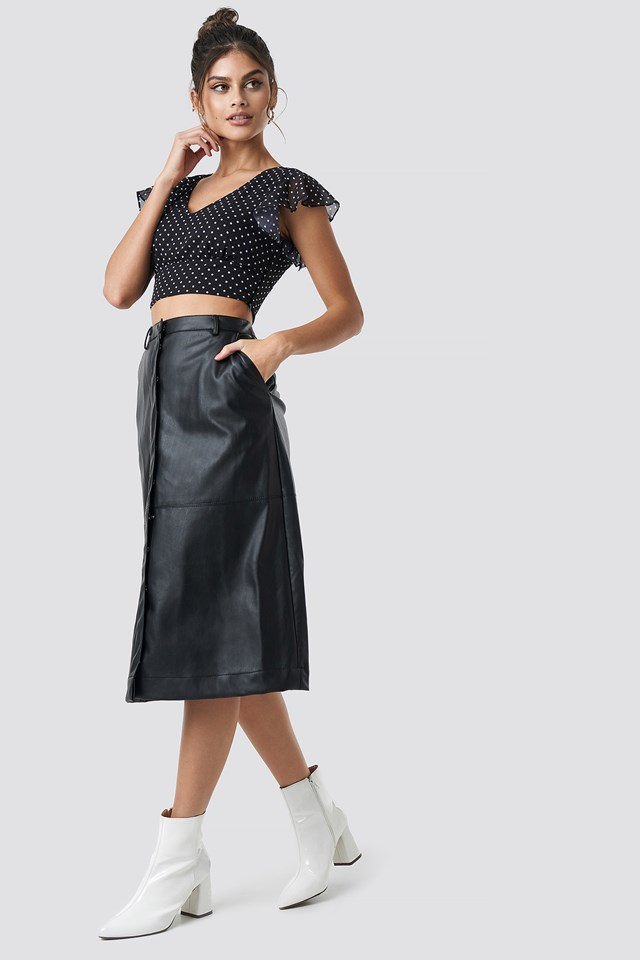 PU Midi Skirt NA-KD Trend