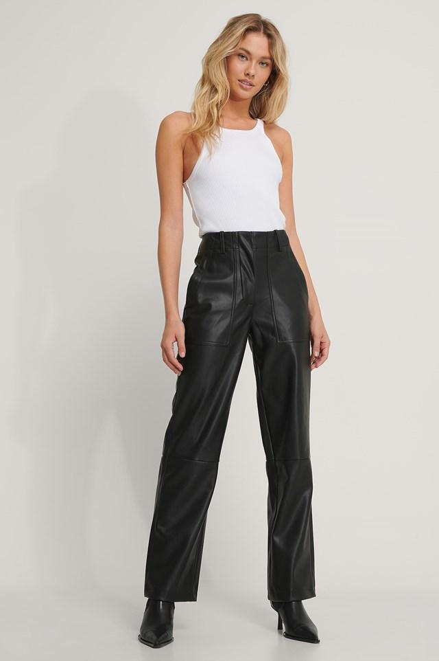 Black PU Pocket Pants