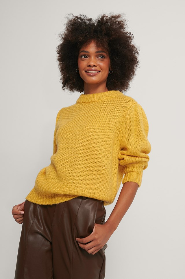 Dusty Yellow Puff LS Round Neck Knitted Sweater