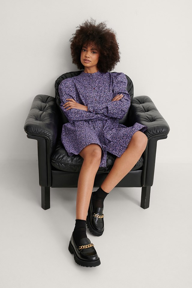 Purple Flower Puff Shoulder LS Buttoned Dress