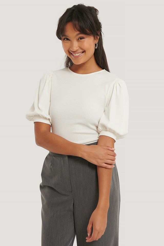 Offwhite Puff Shoulder Ribbed Top