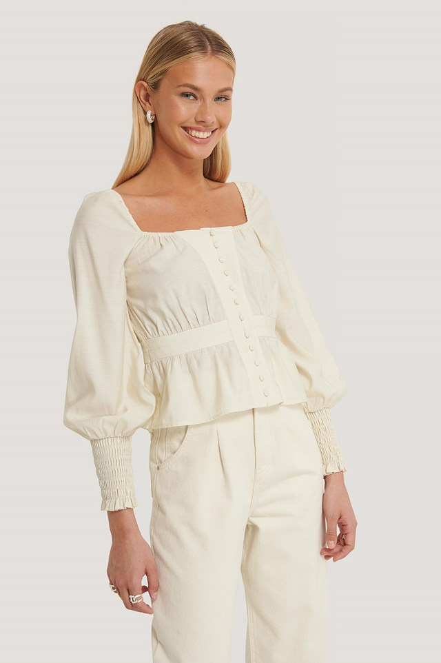 Puff Shoulder Smocked Arms Blouse Offwhite