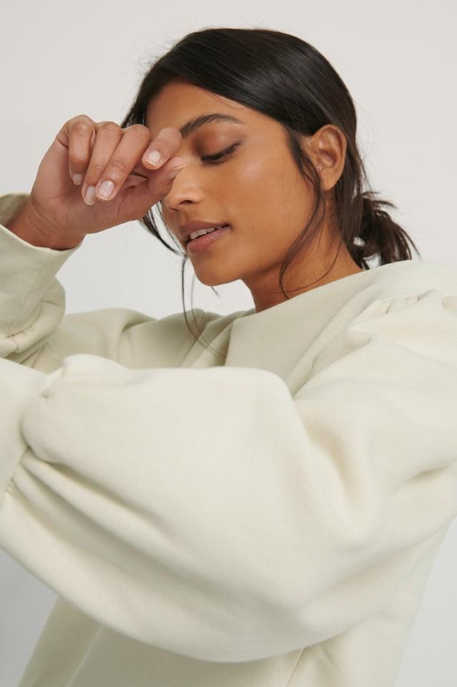 Puff Shoulder Sweatshirt Beige