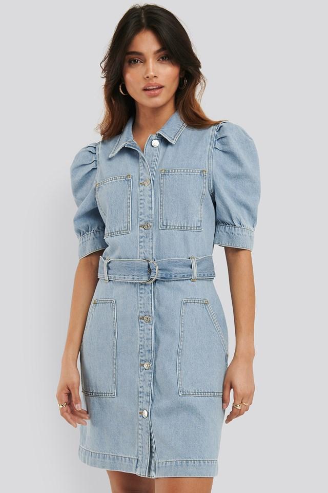 Puff Sleeve Belted Denim Dress Light Blue