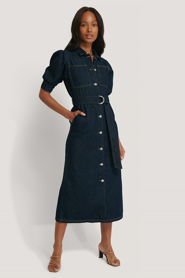 Puff Sleeve Belted Denim Dress Dark Blue